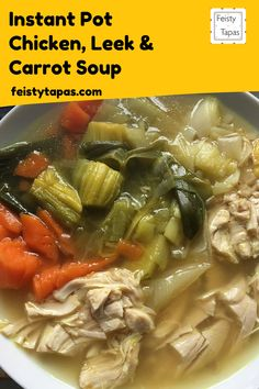 A warming soup, the perfect comfort food.   This soup is so easy to cook in the Instant Pot or pressure cooker.  Don't forget the salt part  #thermomix #feistytapas Chorizo Recipes, Tapas Recipes, Yummy Chicken Recipes, Soup Recipes, Easy Recipes, Homemade Chicken Stock, Stove Top Recipes, Carrot Soup, Pressure Cooker Recipes