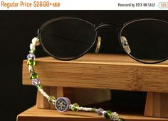 EASTER SALE Irish Thistle Glasses Necklace. Purple Eyeglass Holder. Beaded Lanyard. Green Eyeglass Chain. White Beaded Badge Lanyard. Handma by Gilliauna from Bits n Beads by Gilliauna. Find it now at http://ift.tt/2o8j2nX!