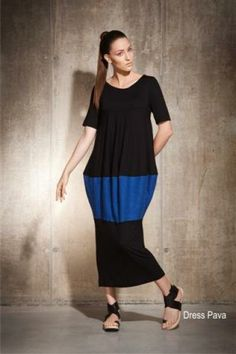 Dress Pavar, long Dress with 3/4 length sleeve, mainly black with block of blue linen in middle section. http://www.walkersofpottergate.com/product/7261/xenia-design-dress-pavar/?selected_category_id=453