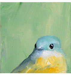 The weirdest thing...I love bird paintings.  It's my newest obsession. :p  I painted one last night for my dining room and I may have to try one like this.  Love the yellow chest.