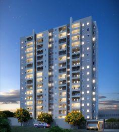 O residencial tem apartamentos de 67 m² e de 88 m², com uma ou duas vagas na garagem.