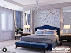 Traditional style blue velvet bedroom decor with blue curved velvet bed and blue bench See other ideas and pictures from the category menu…. Faneks healthy and active life ideas Blue Bedroom Decor, Bedroom Colors, Home Bedroom, Master Bedroom, Bedroom Wall, Luxury Bedroom Design, Home Interior Design, Bedroom Designs, Bedroom Ideas