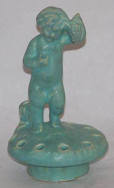 Weller Pottery Hobart Cherub and Grapes Flower Frog