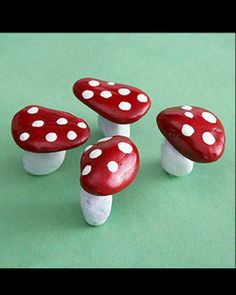 Paint rock mushrooms!