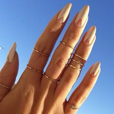 Long rounded nails with natural colour
