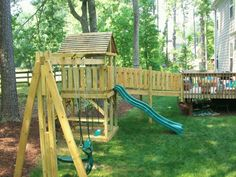 I like this bridge off of the deck, but we don't have space for such a big swing set.