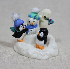 Hallmark Anything For A Friend Penguins & Snowman Keepsake Ornament NIB 2004 $49.99