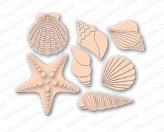 Impression Obsession Dies, Shell Set. This is a US-made steel die compatible with most table-top die cutting machines.  Approximate die sizes: The starfish is 2 x 2, the scallop is 1-1/2, and the spiral shell is 5/8 x 1-7/8.