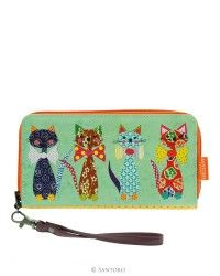 Large Zip Wallet - Santoro's Cats With Bowties