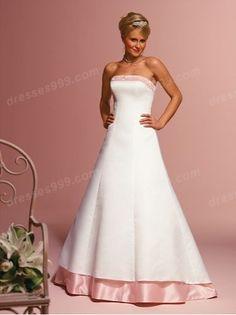 Simple Strapless Color Wedding Dresses Pink Chest Hem Skirt Hem
