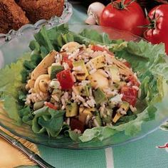 """Special Wild Rice Salad Recipe -""""A friend fixed this for a company outing a few years ago, and it has since become my favorite picnic salad,"""" writes Suzanne Strocsher of Bothell, Washington. Jars of marinated mushrooms and artichoke hearts, along with fresh vegetables, turn prepared rice mix into something special."""