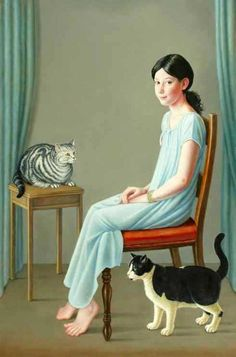 Blue - girl and cats - Jessica, Jupiter and Jaspar - painting - Brigid Marlin I Love Cats, Crazy Cats, Cool Cats, Crazy Cat Lady, Illustrations, Illustration Art, She And Her Cat, Gatos Cat, Son Chat