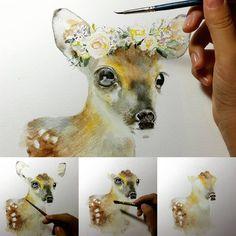 Work in progress. Prints available in my shop LivePaperStudio. Deer Art, Moose Art, Nursery Prints, Nursery Art, Woodland Animals, Watercolor Art, Art Work, Dinosaur Stuffed Animal, I Shop