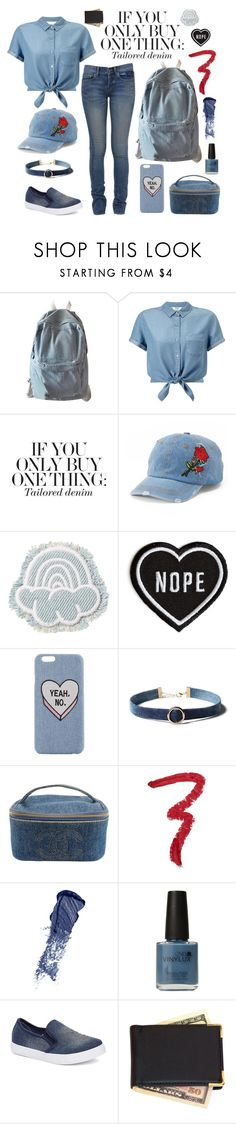 """""""Canadian Tuxedo"""" by michaela-penkala ❤ liked on Polyvore featuring WithChic, Miss Selfridge, Mudd, Chanel, Forever 21, Bobbi Brown Cosmetics, CND, Royce Leather, Yves Saint Laurent and denim"""