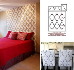 Marrakech stencil DIY stenciled headboard