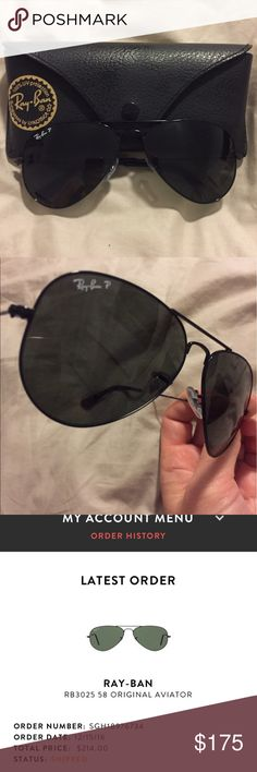 Ray Ban Aviator RB3025 58 Sunglasses Black/Green Ray Ban Aviator RB3025 58 Sunglasses Black/Green, polarized, purchased 12/15/16 only worn a few times, original case and wipe, paid $214 at Sunglass Hut Ray-Ban Accessories Sunglasses