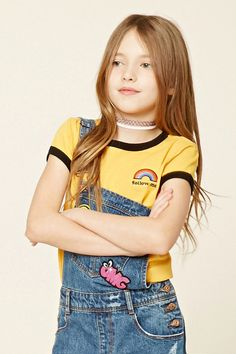 """Forever 21 Girls - A knit tee featuring an embroidered """"Follow Me"""" and a rainbow graphic on front, contrast trim, short sleeves, and a round neckline."""