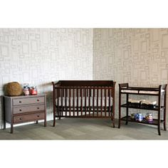 Baby Mod - Ava Fixed Side Crib with adjustable Mattress Height, Changing Table and 3 Drawer Dresser Bundle, Espresso