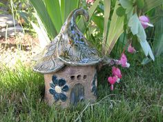 Enchanted FAIRY HOUSE With Teal Flowers Stoneware Pottery