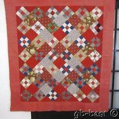 Primitive 1890s Antique Quilt Perkiomenville Lattice Weave Red Blue 76 x 72 | eBay