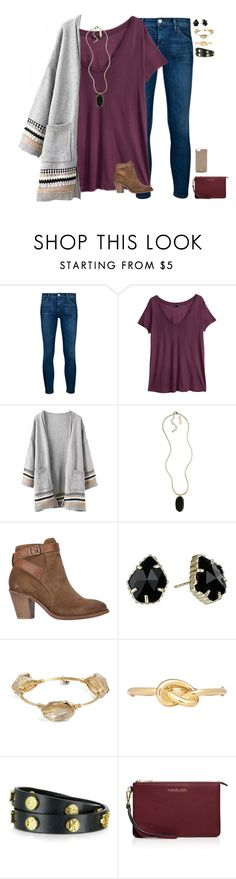 """""""•You are my favorite hello and my hardest goodbye❣❤️•"""" by mgpayne10 ❤ liked on Polyvore featuring moda, Goldsign, H&M, Kendra Scott, H by Hudson, Bourbon and Boweties, Kenneth Jay Lane, Tory Burch e MICHAEL Michael Kors"""