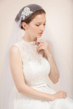 Wedding veil bridal Juliet veil stilk tulle Juliet cap veil by WanluBridal