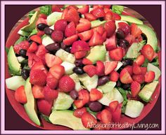 Fresh Picked Strawberries with Avocado and Olives Over Greens! Oh Yeah! (A Gluten Free Recipe!)