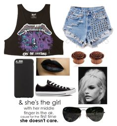 """""""I don't care"""" by megatron800 ❤ liked on Polyvore featuring Forever 21, Runwaydreamz, Case-Mate, Converse, GINTA and Ray-Ban"""