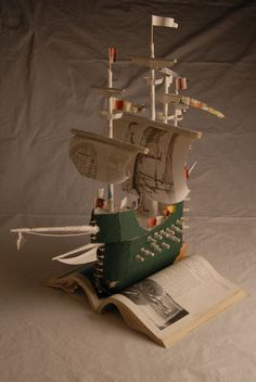 "It's a model of The Mary Rose, made from a book about The Mary Rose!   ""There is no frigate like a book to take us lands away…."" Emily Dickinson"
