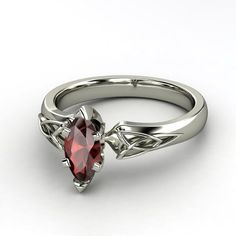 Marquise Red Garnet 14K White Gold Ring | Fiona Marquise Ring | Gemvara