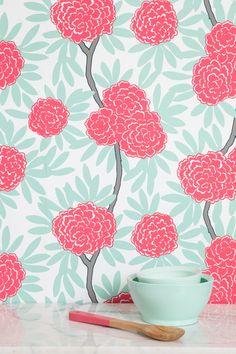 Mint Fleur Chinoise wallpaper available on Caitlin Wilson's website www.caitlinwilsontextiles.com