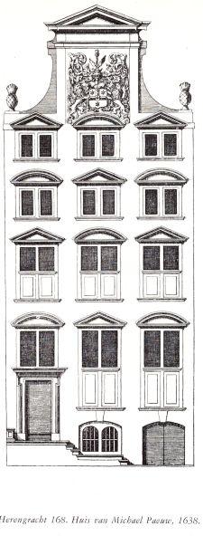 Philip Vingboons ontwerp uit 1638 voor Herengracht 168