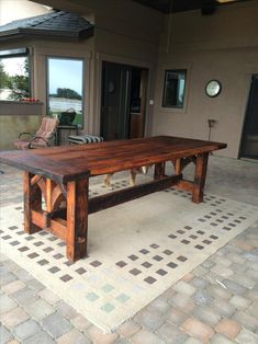 Farmhouse Table Plans, Farmhouse Dining Room Table, Diy Dining Table, Farmhouse Furniture, Rustic Table, Patio Table, Wooden Tables, Rustic Furniture, Diy Furniture