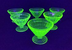 Block Optic Green Uranium Glass Sherbet Dessert Dishes by Hocking Glass - Set of 6 - Depression Glass - Vintage Collectible by ClassyVintageGlass on Etsy Dessert Dishes, Desserts, Vintage Dinnerware, Glass Company, Depression, Green, Etsy, Tailgate Desserts, Deserts