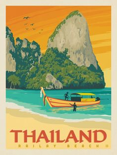 Poster design inspiration · vintage travel posters · anderson design group – world travel – thailand: railay beach railay beach, thailand travel Art Et Design, Diy Design, Photo Vintage, Vintage Ski, Thailand Travel, Railay Thailand, Philippines Travel, Spain Travel, Thailand Art