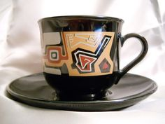 Arcoroc Made in France Black Tea Coffee Cup and Saucer Set Brown Modern Design