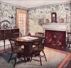 https://flic.kr/p/5Gr8QE   1926 Traditional Dining Room   The Wallpaper Manufacturers Association managed to publish some consistently attractive advertisements during the 1920s. Most were suitable for Colonial Revival style home and featured toile patterns.