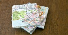 The next time you return from a fun adventure, commemorate your travels and create unique coasters using maps of the destination. And it's a great way to give new life to an old atlas. Pick your favorite locations or close-up street maps for a unique