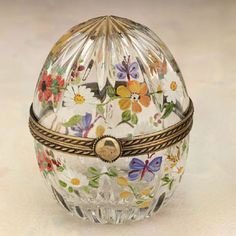 Chamart French Crystal egg hinged box with handpainted butterflies