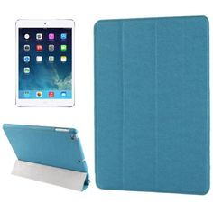 For+iPad+Air+Blue+Belk+Series+4-floding+Holder+Cross+Leather+Case+with+Sleep+&+Wake-up+Function