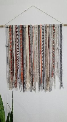 Bohemian Yarn Tapestry Yarn Wall Hanging Could be a way to display long weavings of various patterns Bohemian YarnTapestry - Beige, grey, orange, and red This tapestry makes a great wall decor! Sizes: Medium: Length 18 x height 32 medium/large: Length x h Yarn Wall Art, Yarn Wall Hanging, Diy Wall Art, Diy Wall Decor, Wall Hangings, Hanging Tapestry, Tapestry Wall, Room Decor, Tapestry Bedroom