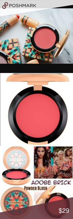MAC Cosmetics Vibe Tribe Adobe Brick Powder Blush New without box. Outside of container has some minor damage as pictured. Blush Makeup, Makeup Cosmetics, Fashion Tips, Fashion Design, Fashion Trends, Adobe, Brick, Mac Products, Powder