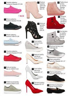 3b60e0342 Ažúrové sandále čierne, Béžové lodičky semišové, Sivé lodičky klinové,  Textilné plátenky červené,