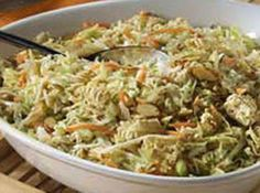 This is SO good. Made with ramen noodles (yes, ramen) and sesame seeds and almonds, it's always a hit. Hint: Toast the ramen and sesame seeds and almonds....totally different level of flavor. I love the crunch of this salad and it's WONDERFUL with chicken in it.