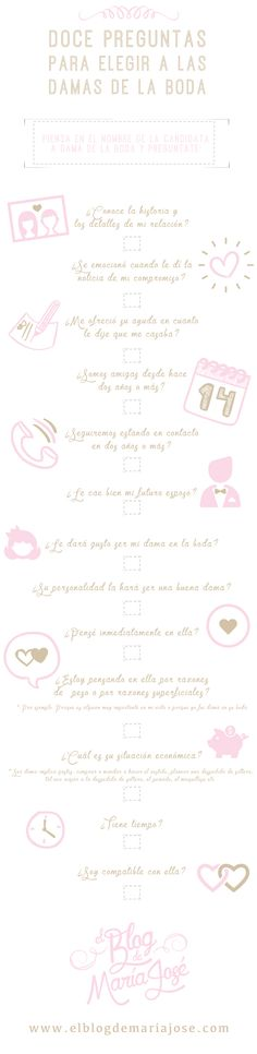 Contesta estas 12 preguntas antes de elegir a las damas de la boda #bodas #elblogdemaríajosé #damas #infografía