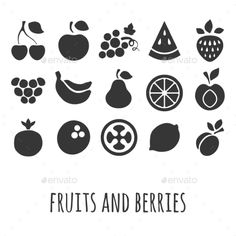 Icon Set with Fruits and Berries (Vector EPS, CS, apple, apricot, art, banana, berry, black, cherry, coconut, color, flat, food, garnet, grape, gray, icon, illustration, image, lemon, orange, paint, papaya, pear, plum, raspberry, set, strawberry, symbol, vector, watermelon, white)