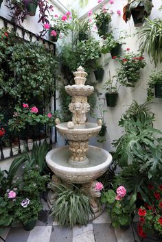 Great use of a patio corner with a myriad of potted flowers, a small fountain and the courtyard wall with wall planters.