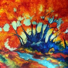 FALL LANDSCAPE RED TREES COMMISSIONED by M BALDWIN Oil ~ 48 x 48