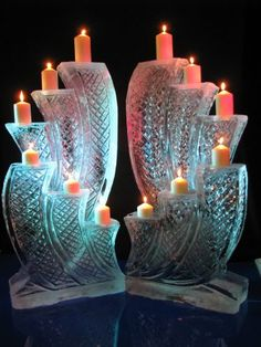 Double candle display Snow And Ice, Fire And Ice, Ice Images, Ice Hotel, Ice Art, Snow Sculptures, Candle In The Wind, Snow Art, Ice Ice Baby