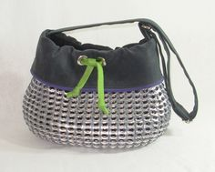 Fun Pull Tab Purse with Green Tie Trim and Adjustable Shoulder Strap. $199.00, via Etsy.